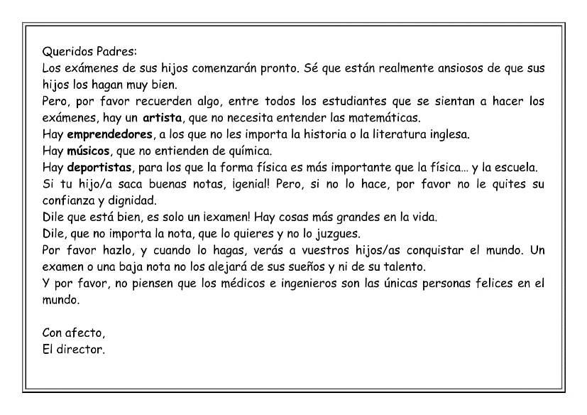 Carta del Director para los Padres
